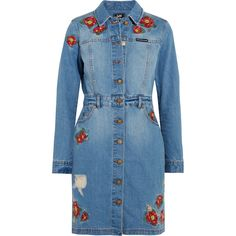 House of Holland + Lee embroidered denim mini dress ($320) ❤ liked on Polyvore featuring dresses, house of holland, embroidered denim dress, embroidery dresses, blue dress, blue mini dress and denim dress