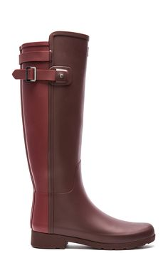 Hunter Original Refined Back Strap Short Rain Boot in Umber & Lava Red