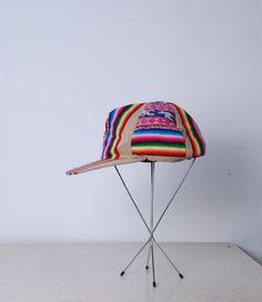 90s rainbow Peruvian snap back baseball hat sun visor womens mens unisex vintage accessories cap south american billed hat by furhatguild on Etsy