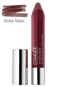 Clinique Chubby Stick Moisturizing Lip Colour Balm, #01 Richer Raisin by Clinique. $13.00. shade is #01 Richer Raisin. Size is 0.1 oz / 3 g. Brand New in Box Clinique Chubby Stick Moisturizing Lip Colour Balm. Super-nourishing balm is loaded with mango and shea butters. Just what dry, delicate lips need to feel comfortably soft and smooth. Eight natural-looking lip tints in all, each with a subtle sheen. 0.10 oz.