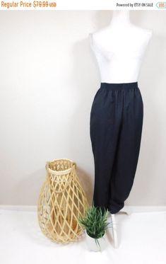 Vintage 80s eggshell white high waist pleated easy trouser pants