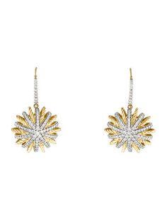 David Yurman Diamond Starburst Drop Earrings
