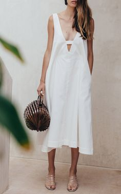 White Eden Trapeze Dress by CULT GAIA for Preorder on Moda Operandi