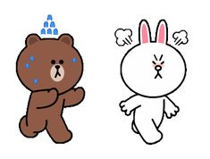 LINE Official Stickers - Brown & Cony's Heart-Throbbing Love Example with GIF Animation Cute Bunny Cartoon, Cute Cartoon Images, Cute Couple Cartoon, Cute Love Cartoons, Cartoon Gifs, Cute Couple Art, Cute Love Pictures, Cute Love Gif, Gif Kawaii