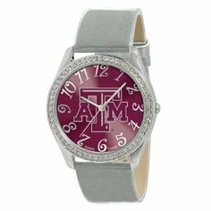 """Texas A&M Aggies NCAA Ladies Glitz Series"""" Watch"""" by Game Time. $40.32. Texas A&M Aggies NCAA Ladies Glitz Series"""" Watch"""". The Ladies Glitz watch features the official licensed team logo; all metal case with 50 crystal stones; patent leather strap; brass dial; stainless steel crown; caseback and buckle; incredible accuracy and reliability Japan Miyota Quartz movement; water resistance to 3 ATM (99 ft); and a Limited Lifetime Warranty."""