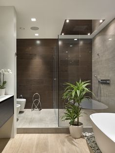 decoration salle de bain, meubles sous vasque noirs, orchidée blanche, plancher en bois, murs marron