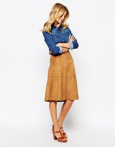 Image 1 of Vila Suedette Pencil Midi Skirt