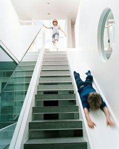 Kids would love this addition to the stairs. In fact, so would the hubby. I'd imagine someone would get the itch to try either a skateboard or snowboard on it at some point.