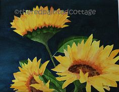 Sunflower Wall Art - 11x15 Original Watercolor Painting, A Trio of Sunflowers. $135.00, via Etsy.