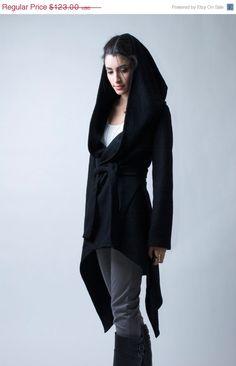 30% OFF SALE CELEBRATION Black Coat with a Hood / Asymmetrical Sweater Hoody / Winter Coat / Oversize Designer Coat / Asymmetric Coat / on Etsy, $86.10