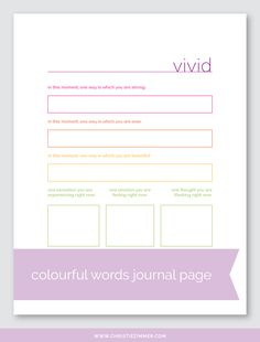 Colourful Words Printable Guided Journal Pages — Christie Zimmer Bullet Journal Goals Page, Bullet Journal Key, Journal Writing Prompts, Journal Pages, Art Journals, Journal Ideas, Therapy Worksheets, Therapy Activities, Coach