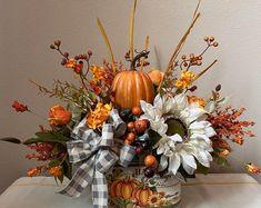 Sunflower Floral Arrangements, Pumpkin Arrangements, Halloween Floral Arrangements, Fall Table Centerpieces, Thanksgiving Centerpieces, Fall Table Decorations, Fall Lanterns, Fall Flowers, Fall Wreaths