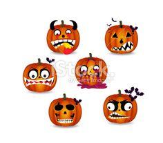 pumpkins face emotion - Illustration
