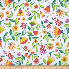 Micheal Miller Melodies Folk Floral Brite from @fabricdotcom  Designed by Sarah Campbelll for Michael Miller, this cotton print fabric is perfect for quilting, apparel and home decor accents. Colors include white, orange, purple, yellow and green.