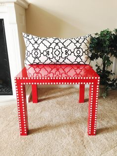 Red Table With White Nailhead Trim / Ikea Hack By TheBonBonShoppe