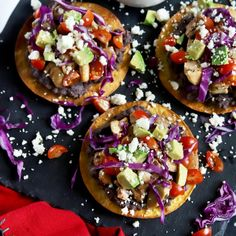 Pollo Asado Chicken Tostadas with Black Beans - Cake 'n Knife
