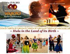 Honolulu, HI 3 days, 40 kumu hula, choose from 80 workshops & seminars.    Modern and ancient hula, chant, history, costume, lei-making, Hawaiian language, songs, music, implement-making -10 Ho`ike H… Click flyer for more >>