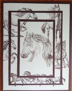 Horse Hand Stamped Card Set of 4 by lastsummertreasures on Etsy. Uses Inkadinkado Horse stamp set Boy Cards, Kids Cards, Men's Cards, Scrapbooking, Scrapbook Cards, Making Greeting Cards, Greeting Cards Handmade, Horse Cards, Birthday Cards For Men