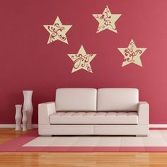 Star Ornaments II Christmas Wall Decal (24in x 24in )