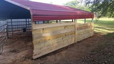 The beginnings of converting an 18x20 carport into a foaling stall. This is my own horse shelter idea I came up with, so it's going to be trial and error putting it together.