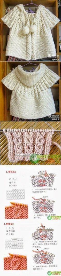 """Baby Knitting Patterns Poncho [ """"strikket stoff med to nåler. Baby Knitting Patterns, Knitting For Kids, Knitting Stitches, Baby Patterns, Crochet Patterns, Knitting Needles, Baby Vest, Baby Cardigan, Knit Cardigan"""