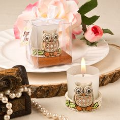 Woodland Vintage Owl Candle Favors - rustic party and wedding favors - Each is packaged in a lattice design cream and tan bottom favor box with a clear plastic display top. White organza ribbon and For You message is attached. Baby Shower Candle Favors, Candle Wedding Favors, Wedding Party Favors, Shower Favors, Votive Candle Holders, Votive Candles, Glass Votive, Owl Wedding, Wedding Ideas