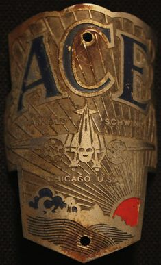 Ace Bicycle Badge - The Schwinn Bicycle Company - Vintage Bicycle Emblem - Look at the detail on this beauty! Chicago