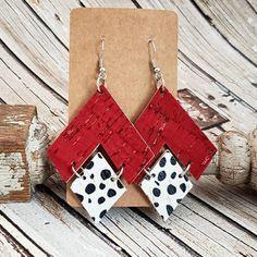 Red Geometric Leather Earrings, Leopard Earrings, Triangle Earrings, Statement Earrings, Modern Earrings, Cheetah Earrings,Game Day Earrings by whiteshedcreations on Etsy