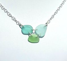 Real Sea Glass Necklace In Turquoise, Aqua And Sea Foam Seaglass And Sterling Silver! Please visit Surfside Sea Glass for more great beach jewelry at: https://surfsideseaglass.com/ This Sterling Silve