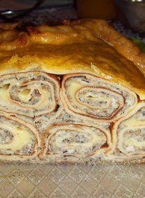 Блинный пирог - вкуснее всех запеканок! Crepes, Lasagna, Noodles, Casserole, Food And Drink, Appetizers, Baking, Ethnic Recipes, Sweet