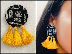 JUST HOMEMADE THINGS 🌸 Hello! People we are back with some more creativity just for you. Diy Fabric Jewellery, Thread Jewellery, Textile Jewelry, Jewellery Making, Thread Bangles, Saree Jewellery, Diy Tassel Earrings, Fabric Earrings, Antique Jewellery Designs