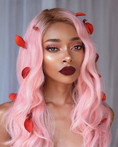 Preferred Hair Brazilian Remy Hair Body Wave Seamless Pink Ombre Wig with Red Baby Hair Human Hair Wigs for Women Hair Color For Dark Skin, Cool Hair Color, Dark Hair, Hair Colors, Ombre Wigs, Remy Hair, Pretty Hairstyles, Hair Inspiration, Curly Hair Styles