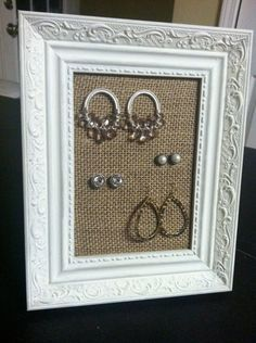 framed burlap jewelry display @Lauren Davison Wessel