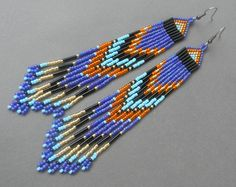 Extra long  fringe  beaded earrings by Anabel27shop on Etsy