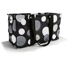 Large Utility Tote in Black Happy Dot