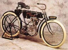 Production in 1905 and 1906 were all single-cylinder models with 26.84 cubic inches (440 cc) engines. In February 1907 a prototype model with a 45-degree V-Twin engine was displayed at the Chicago Automobile Show. Although shown and advertised, very few V-Twin models were built between 1907 and 1910. These first V-Twins displaced 53.68 cubic inches (880 cc) and produced about 7 horsepower (5.2 kW). http://en.wikipedia.org/wiki/Harley-Davidson
