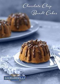 Ghirardelli Chocolate Chip Mini Bundt Cakes - made with Ghirardelli 60% cacao Chips