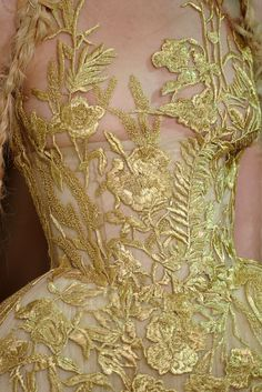 Embroidered dress detail by Alexander McQueen | sp 2011 | Silk & tulle |