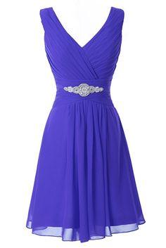 Manfei Women's V-Neck Chiffon Short Bridesmaid Dress Party Dress Gray Size 14