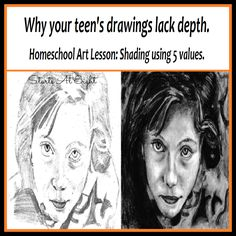 Why your teen's drawing lack depth - A Homeschool Art Lesson: Shading Using 5 Values. Learn to add depth to your drawings using these shading techniques.