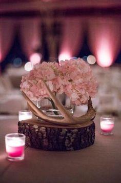 Rustic Wedding Centerpiece   Pale Pink Hydrangeas   Deer Antler Centerpiece   Wood Slab   Rustic Chic Wedding by DreamDayInvitations