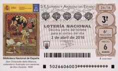 Billete de lotería: Don Quijote de La Mancha (Loteria Nacional (Spain), España) (2016 Don Quijote de La Mancha) Col:LN-SP-4711