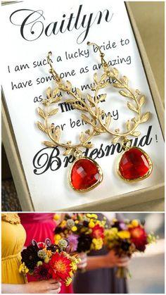 Ruby red bridesmaidred garnet Bridesmaid jewelry by thefabbridal3, $24.99