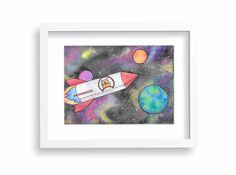 Rocket Cat in OuterSpace 8x10 Watercolor for Nursery or Kid's Room by MomJeansandHeels on Etsy