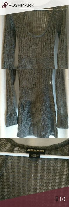 Guess Jeans sweater Long, sheer on top and sleeves. Clingy fit, yet thin enough to stretch a bit. Dark grey with silver flecks Guess Sweaters Crew & Scoop Necks