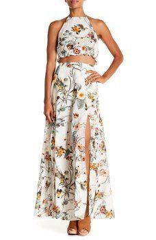 a2b9ed807ac AAKAA - Halter Floral Print Crop Top   Maxi Skirt 2-Piece Set ...