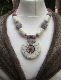 FELTED NECKLACE Needle Felted Maritime Wearable by ukokprincess, $60.00