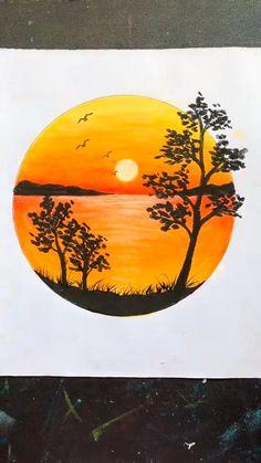 Oil Pastel Paintings, Oil Pastel Art, Oil Pastel Drawings, Cool Paintings, Simple Paintings On Canvas, Sunset Paintings, Oil Pastels, Art Drawings Beautiful, Art Drawings Sketches Simple