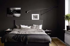 6 Black Bedroom Designs That Set Your Mood And Add Exotic Your Space Bedroom Black bedroom furniture is a perfect way to set your room in total black. Black contemporary style bedroom furniture can make your room look and feel . Black Bedroom Design, Bedroom Black, Master Bedroom Design, Home Bedroom, Modern Bedroom, Bedroom Decor, Gothic Bedroom, Bedroom Inspo, Bedroom Designs