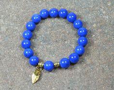 Beaded Stretch Bracelet Blue Jade Gemstone by CoralsJewelry